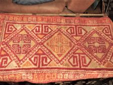 "ANTIQUE RUG / PRAYER MAT ? 40"" X 21.5""  RED RUST CREAM & OCHRES VELVET FEEL"
